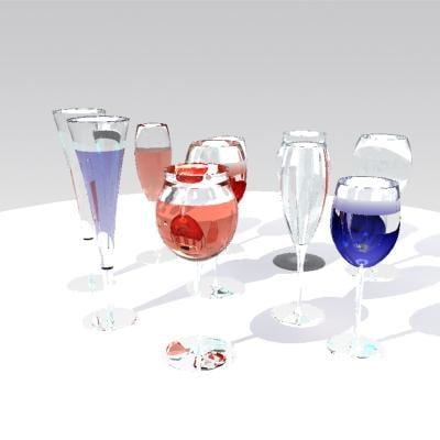 3d glass glassware model