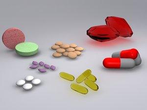 3d medicine pills model