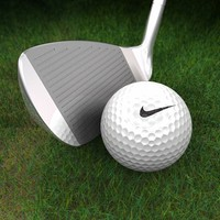 Golf Club, Ball and 3D Grass
