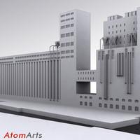 grain elevator 3d max