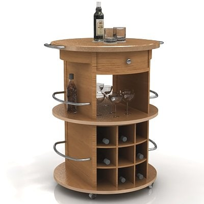 wine cart 3d 3ds