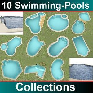 10 swimmingpools 3d max