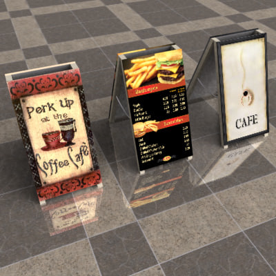 folding sign board 3d 3ds