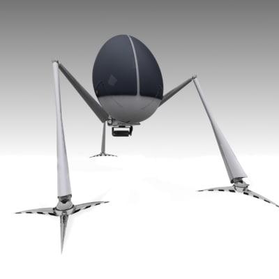 3ds max egg robot walker mech