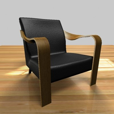 leather arm chair 3d 3ds