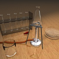 lab equipment 3d c4d