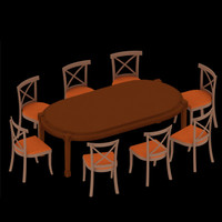 dining chair table 3d max