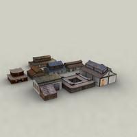oriental buildings village 3d model