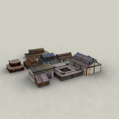 oriental buildings village 3d model