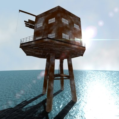 derelict sea fort fortification 3d model
