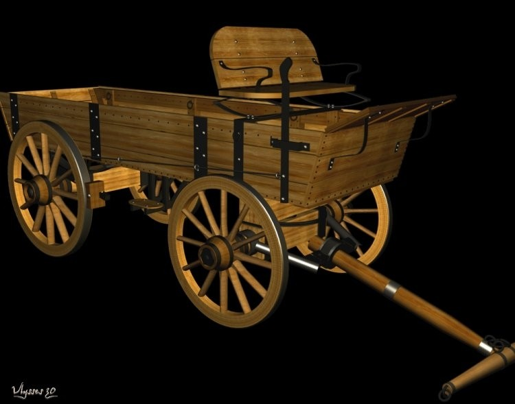 3d model buckboard wagon