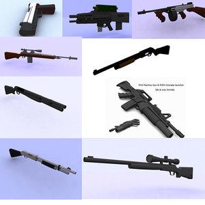 shot guns snipers rifles 3ds