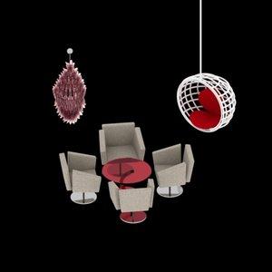 chandlier sofa chair 3d max