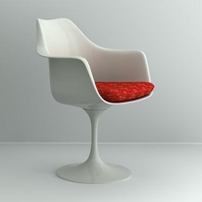 saarinen tulip armchair chair 3d 3ds