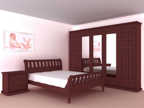 bedroom classical style bed 3d lwo