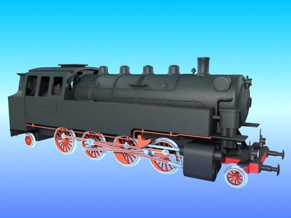3d old steam locomotive br-86 model