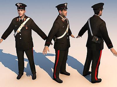 3d model character carabinieri 01