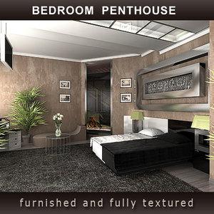 bedroom penthouse bed 3d model