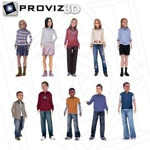 people children 3d max