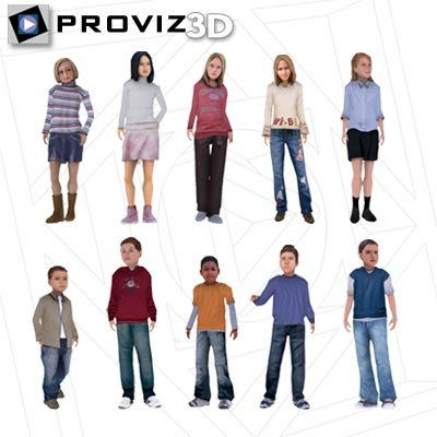 people children 3d max