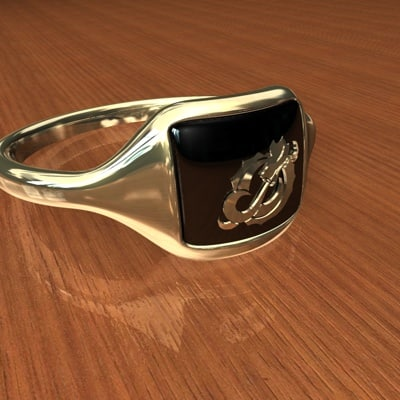 gold dragon ring 3d 3ds