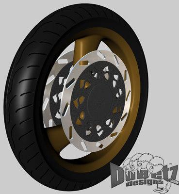 free motorcycle wheel tire 3d model