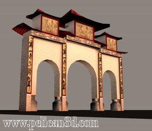 asian temple sandakan 3d model