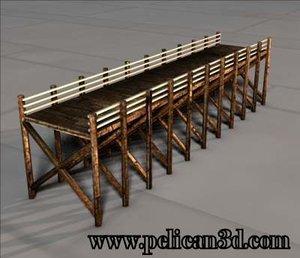 boardwalk pier 3d obj