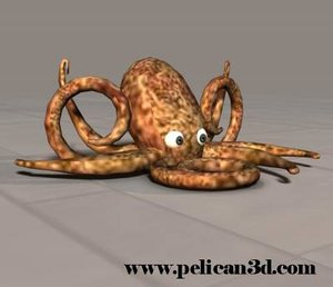 pelican octopus 3d obj
