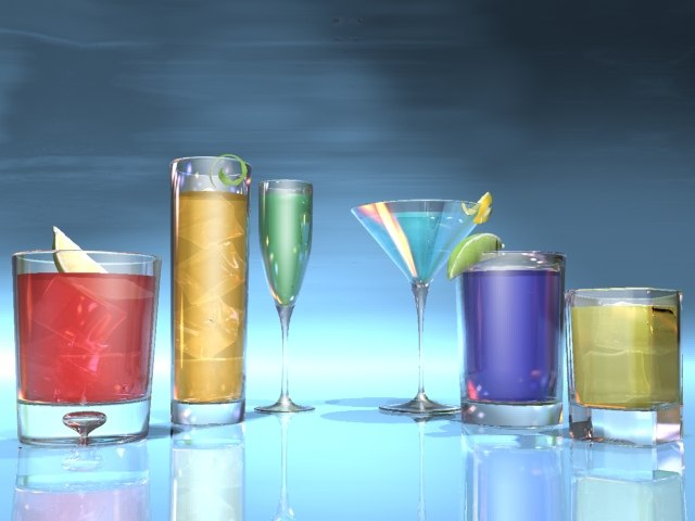 3d drink glasses ice