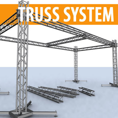 4 pipes truss stages 3d model