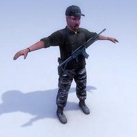 police urban commando 3d max