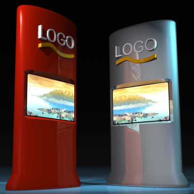 promo tower screens exhibition stand 3d model