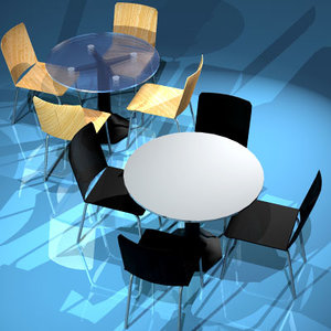 free obj mode coffee table chairs