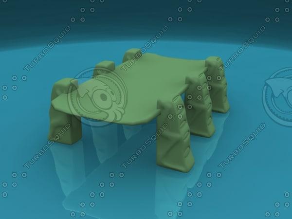 free bridge sci-fi ancient 3d model
