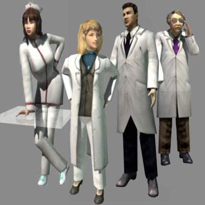 3d hospital medical pack nurse model