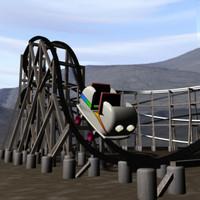 wooden roller coaster 3d model