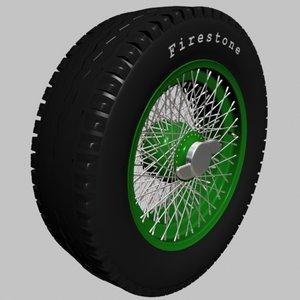 3d wheel tire 1950 s model