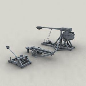 siege engines trebuchet ballista 3d model