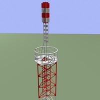 realistic tv radio tower 3d model