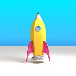 pencil rocket 3d model