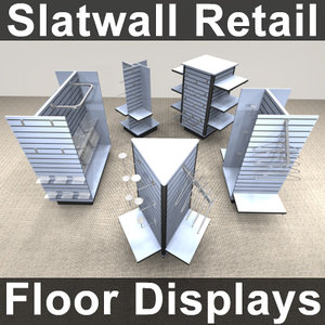 3d slatwall floor display store interior