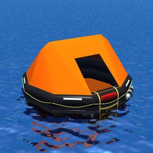 3d model life raft liferaft