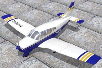 piper warrior aircraft 3d lwo