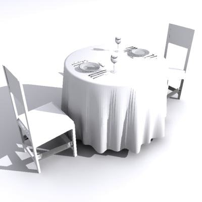 dinnerset dining set table chairs 3ds