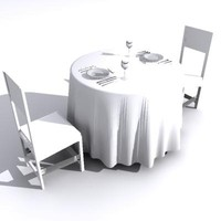 dinnerset dining set table chairs 3d model