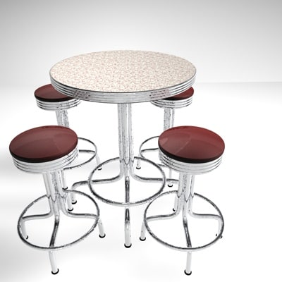 3d retro pub table stools model