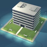 stilized city office building 3ds