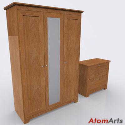 3dsmax bedroom storage furniture wood