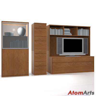 bedroom storage furniture wood 3d model